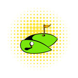 Golf course icon, comics style. Golf course icon in comics style on a white background Royalty Free Stock Photos