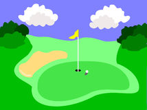 Golf Course Illustration. An illustration of a golf hole with a yellow flag and ball near the hole.The additional format is an EPS vector saved in AI8 format and Stock Photos