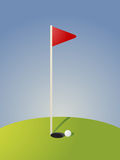 Golf course illustration. Golf illustration with hole flag on greens Royalty Free Stock Image