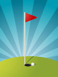 Golf course illustration. Golf illustration with hole flag on greens Stock Image