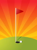 Golf course illustration. Golf illustration with hole flag on greens Stock Photo