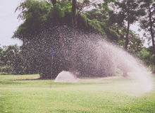 Golf course irrigated by sprinkler. Sprinkler spraying on grass fields royalty free stock image