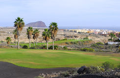 Golf course with island  view. Golf course with island and ocean  view Royalty Free Stock Photography