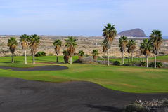 Golf course with island view Stock Images