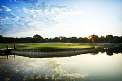 Golf course and lake Stock Photos