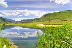 Golf course lake Royalty Free Stock Image