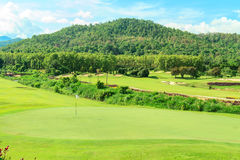 Golf course landscape. Beautiful green golf course landscape, Golfing resort at Lamphun Province, Thailand stock photos