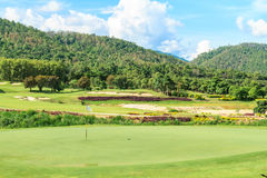 Golf course landscape. Beautiful green golf course landscape, Golfing resort at Lamphun Province, Thailand royalty free stock image