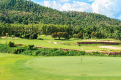 Golf course landscape. Beautiful green golf course landscape, Golfing resort at Lamphun Province, Thailand stock images