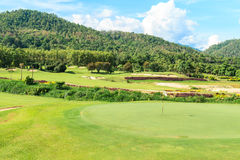 Golf course landscape. Beautiful green golf course landscape, Golfing resort at Lamphun Province, Thailand stock image