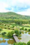 Golf course landscape. Beautiful green golf course landscape, Golfing resort at Lamphun Province, Thailand royalty free stock photos