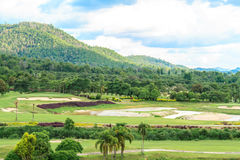 Golf course landscape. Beautiful green golf course landscape, Golfing resort at Lamphun Province, Thailand stock photo