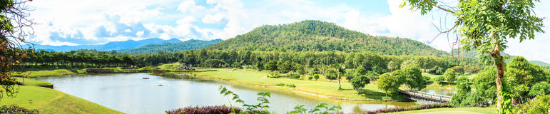 Golf course landscape panorama Royalty Free Stock Images