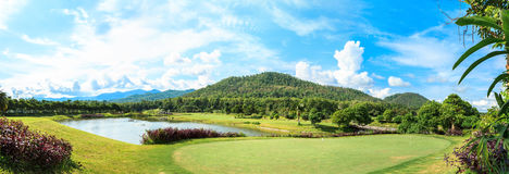 Golf course landscape panorama Royalty Free Stock Image