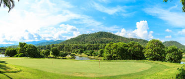 Golf course landscape panorama Stock Photography