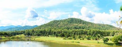 Golf course landscape panorama. Beautiful green golf course landscape panorama, Golfing resort at Lamphun Province, Thailand stock photo