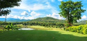 Golf course landscape panorama. Beautiful green golf course landscape panorama, Golfing resort at Lamphun Province, Thailand stock image