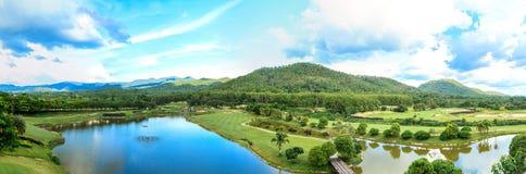 Golf course landscape panorama. Beautiful green golf course landscape panorama, Golfing resort at Lamphun Province, Thailand stock photography
