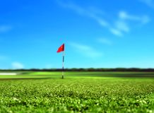 Golf Course Landscape. With Red Flag Royalty Free Stock Images