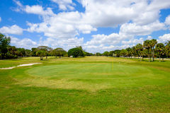 Golf. Course landscape viewed from behind the putting green Stock Image
