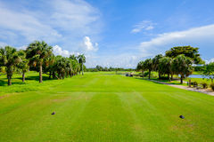 Golf. Course landscape viewed from the tee box Stock Image