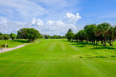 Golf. Course landscape viewed from the tee box Royalty Free Stock Photo