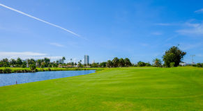 Golf. Course landscape viewed from the tee box Stock Photos