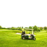 Golf course lanscape and a cart over white. Spring field Stock Image