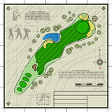 Golf course layout blueprint drawing. Golf course layout. Abstract design stylized blueprint technical drawing background Royalty Free Stock Photos