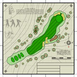 Golf course layout blueprint drawing Stock Images