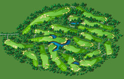 Golf course layout. With flags trees plants water hazards. Vector map isometric illustration Stock Image