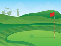 Golf Green. Golf Course Layout with Red Flag and Ball on the Green Stock Image