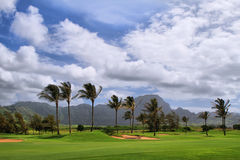 Golf course in mahaulepu trail Royalty Free Stock Image