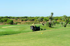 Golf course, maintenance work, Andalusia, Spain Royalty Free Stock Photography