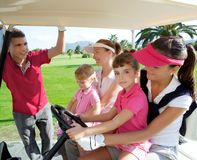 Golf course mothers and daughters in buggy. Talking father Royalty Free Stock Photos