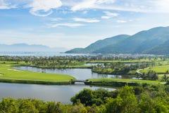 A golf course near the beach in island in Nha Trang, Vietnam.  Stock Photo