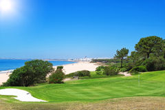 A golf course near the beach in Portugal. Royalty Free Stock Image