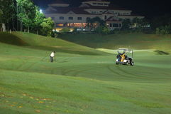 Golf course-night. Golfer at night (golf course Stock Images