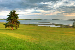 Golf course ocean. View of Atlantic Ocean from green of golf course royalty free stock photo