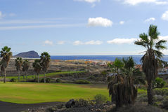 Golf course with ocean view Royalty Free Stock Photos