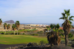 Golf course with ocean view Royalty Free Stock Image
