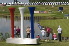 Golf course, Open de France 2011 July 2011. Tees in the colors of France, emblem for the Ryder Cup 2018 in FRANCE, , Albatros course, Open de France July 2011 stock images