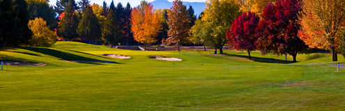 Golf Course Pano. Beautiful panoramic view of the 8th hole at golf course in southern Oregon Stock Image