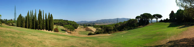 Golf course panorama Stock Photos
