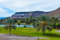 Golf Course. Particular Golf Course whit Palms tree and artificial lake stock photos