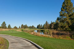 Golf Course with Pond Stock Photo