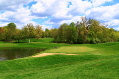 Golf Course Pond. Golf Course by Pond in spring, Virginia United States Stock Photos