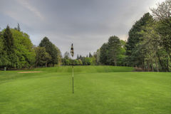 Golf Course Putting Green 2. Golf ball by hole marker flagstick on the putting green wide Royalty Free Stock Photo