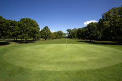 Golf Course Putting Green. Putting green with the approach fairway in the background Royalty Free Stock Image