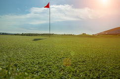 Golf course with red flag Stock Photography